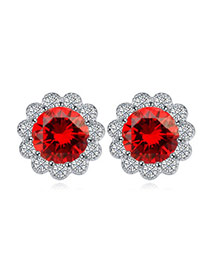 Luxurious Red Diamond Decorated Flower Shape Design  Cuprum Crystal Earrings
