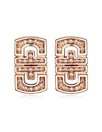 Luxurious Rose Gold Diamond Decorated Shield Shape Design  Cuprum Crystal Earrings