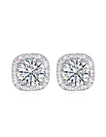 Luxurious White Diamond Decorated Square Shape Design  Cuprum Crystal Earrings
