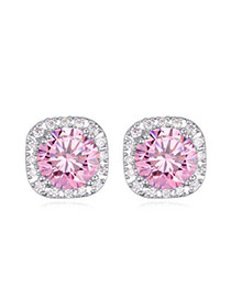 Luxurious Pink Diamond Decorated Square Shape Design  Cuprum Crystal Earrings