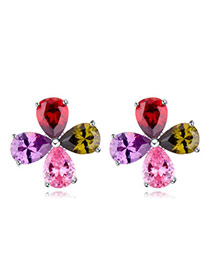 Luxurious Multicolor Diamond Decorated Clover Shape Design  Cuprum Crystal Earrings