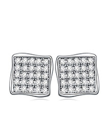 Classy White Diamond Decorated Square Shape Design  Cuprum Crystal Earrings