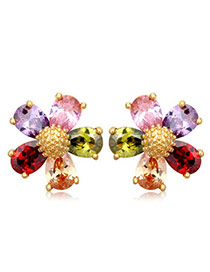 Sweet Multicolor Diamond Decorated Flower Shape Design  Cuprum Crystal Earrings