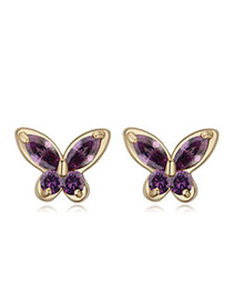 Sweet Dark Purple Diamond Decorated Butterfly Shape Design  Cuprum Crystal Earrings