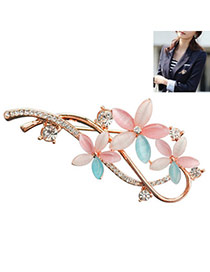 Charming Multicolor Diamond Decorated Flower Shape Design  Alloy Korean Brooches