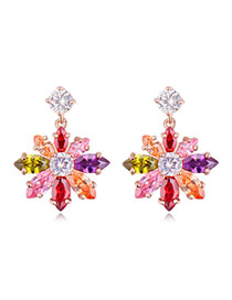 Exquisite Multicolor Diamond Decorated Flower Shape Design Zircon Crystal Earrings