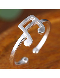Sweet Silver Color Note Decorated Open Design  Alloy Korean Rings