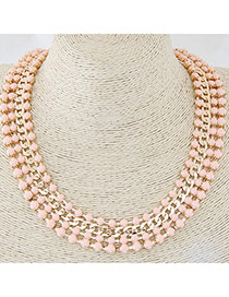 Exquisite Pink Chain Decorated Multilayer Design Alloy Bib Necklaces