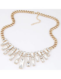 Exquisite Silver Color Stripe Gemstone Decorated Simple Design Alloy Bib Necklaces