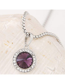 Swanky Purple&silver Color Diamond Decorated Round Pendant Design Alloy Chains