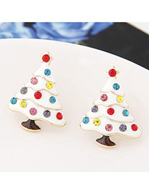 Fashion White Diamond Decorated Tree Shape Design Alloy Stud Earrings