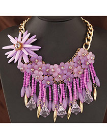 Pretty Purple Flower Shape Decorated Tassel Design Alloy Bib Necklaces