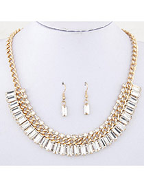 Fashion White Diamond Decorated Simple Design Alloy Jewelry Sets