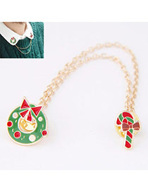 Sweet Green Bowknot Decorated Asymmetry Design Alloy Korean Brooches