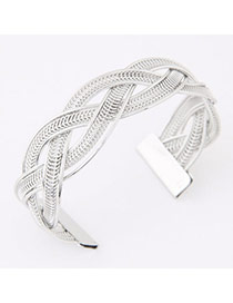 Fashion Silver Color Metal Weave Open Design  Alloy Fashion Bangles