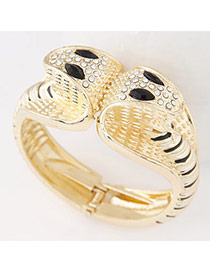 Personality Glod Color+black Diamond Decorated Double-headed Snake Shape Design  Alloy Fashion Bangles