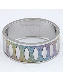 Personality Multicolor+silver Color Oval Pattern Decorated Simple Design  Alloy Fashion Bangles