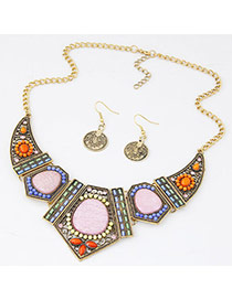 Bohemian Gold Color Beads Decorated Geometrical Shape Design  Alloy Jewelry Sets