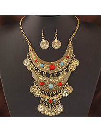Exaggerate Antique Gold Coins Decorated Multilayer Design  Alloy Jewelry Sets