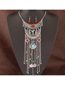 Exaggerate Silver Color Eagle Decorated Tassel Design Alloy Jewelry Sets