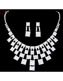 Elegant Silver Color Geometric Squares Decorated Hollow Out Design  Alloy Jewelry Sets