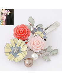 Bohemia Yellow Rose Decorated Simple Design  Alloy Hair clip hair claw