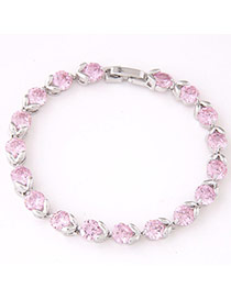 Fashion Pink Diamond Decorated Simple Design  Cuprum Fashion Bracelets
