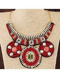 Bohemia Red Round Shape Pendant Decorated Collar Design