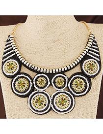 Bohemia White+black Round Shape Pendant Decorated Collar Design