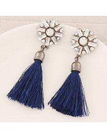 Elegant Navy Blue Round Shape Decorated Tassel Design  Alloy Stud Earrings