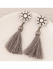 Elegant Gray Round Shape Decorated Tassel Design  Alloy Stud Earrings