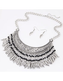Exaggerate Anti-silver Color Leaf & Beads Decorated Tassel Collar Design  Alloy Jewelry Sets
