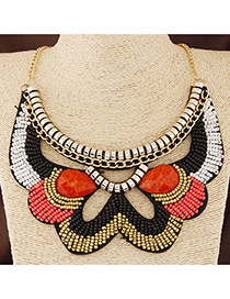 Bohemia Multi-color Geometric Shape Decorated Beads Weave Collar Design Alloy Bib Necklaces
