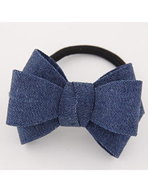 Sweet Blue Big Bowknot Decorated Simple Design Rubber Hair band hair hoop