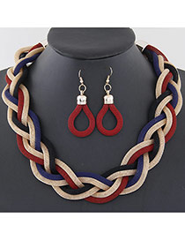Fashion Red Metal Chain Weave Simple Design Alloy Jewelry Sets
