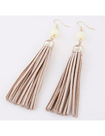 Elegant Khaki Beads Decorated Tassel Pendant Design  Alloy Korean Earrings