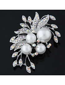 Fashion Silver Color Pearl Decorated Flower Shape Design  Alloy Korean Brooches