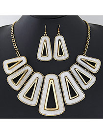 Exaggerated White Triangle Shape Decorated Hollow Out Design  Alloy Jewelry Sets