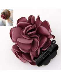 Sweet Dark Red Flower Decorated Simple Design  Rosin Hair clip hair claw