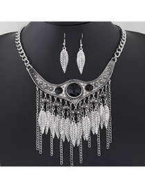 Retro Antique Silver Leaf Shape Decorated Tassel Design