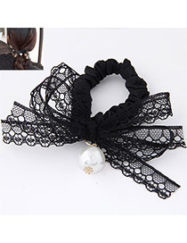 Sweet Black Pearl Decorated Lace Bowknot Design  Rubber Band Hair band hair hoop