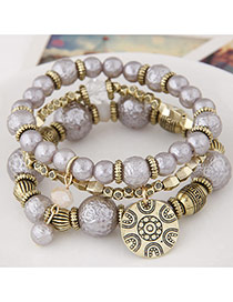 Sweet Gray Round Pendant Decorated Multilayer Design Alloy Korean Fashion Bracelet