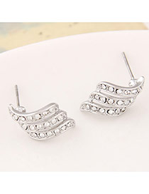 Personality Silver Color Diamond Decorated Multilayer Design Alloy Stud Earrings