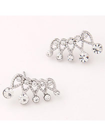 Personality Silver Color Diamond Decorated Crown Shape Design