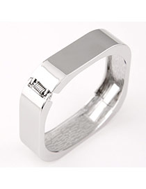 Elegance Silver Color Pure Color Square Shape Design  Alloy Fashion Bangles