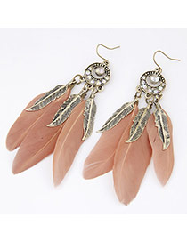 Personality Fleshcolor Diamond Decorated Leaf&feather Pendant Design Alloy