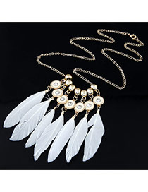 Personality White Beads Decorated Feather Pendant Design