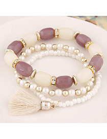 Fashion Light Coffee Tassel&beads Decorated Multilayer Design