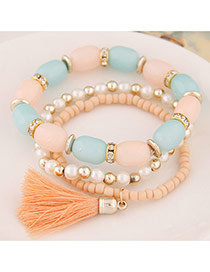 Fashion Light Blue Tassel&beads Decorated Multilayer Design Alloy Korean Fashion Bracelet