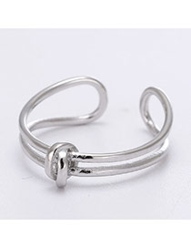 Sweet Silver Color Double Layer Decorated Weave Open Design  Cuprum Korean Rings